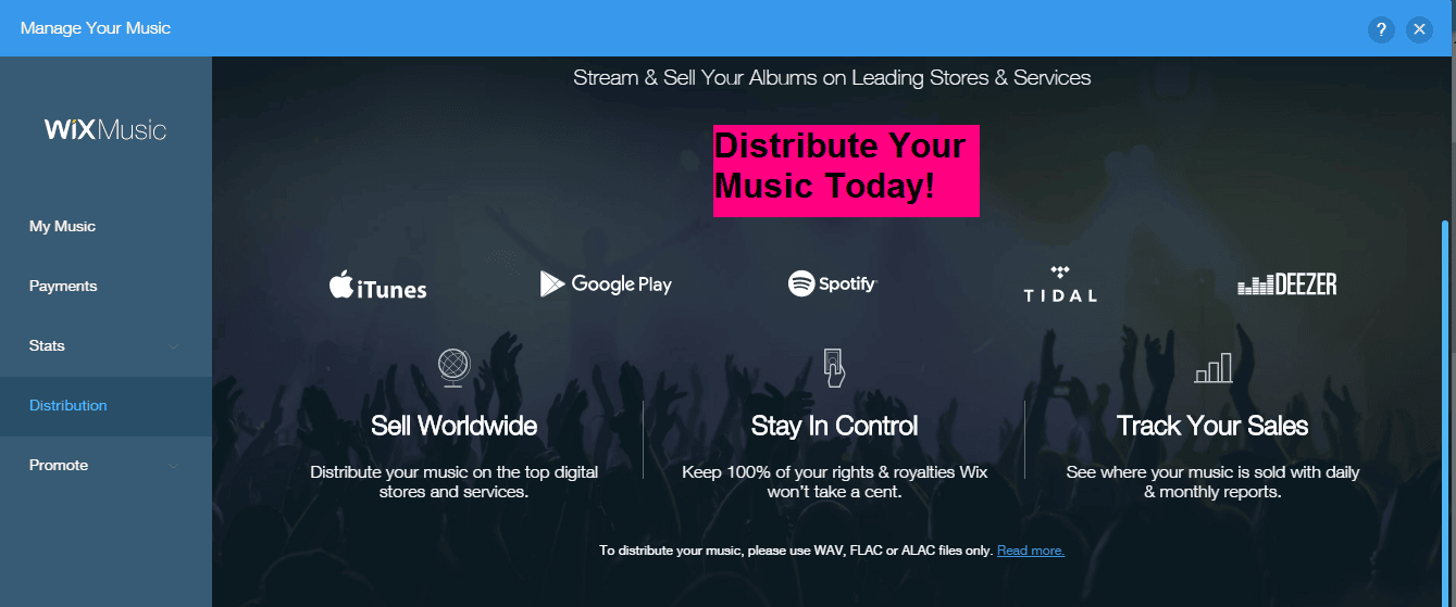 Wix music distribution options